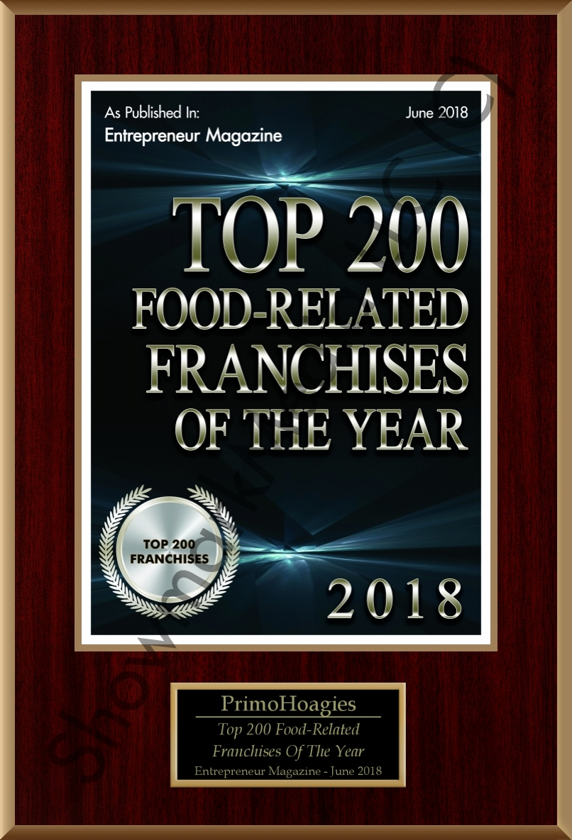 PrimoHoagies Awards 2018 - Top 200 Food Related Franchises of the Year